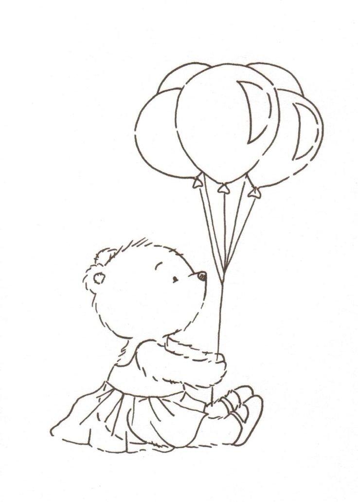 мишка тедди с шариками раскраска касается установления